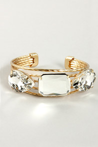 Triplet It be Known Gold Rhinestone Bracelet at Lulus.com!