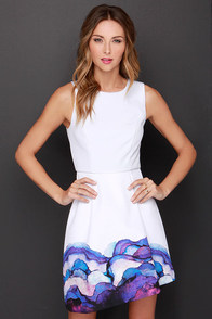 Style Stalker Hypnotized Off White Print Dress at Lulus.com!