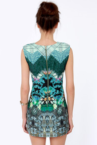 Viewfinders Keepers Blue Mirror Print Dress at Lulus.com!