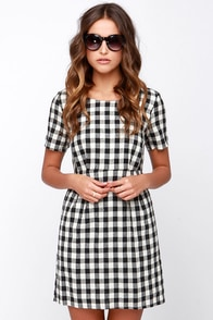 Good Girl Gone Plaid Black and Ivory Plaid Dress at Lulus.com!