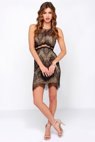 Smokin' Haute Tan and Black Lace Dress at Lulus.com!