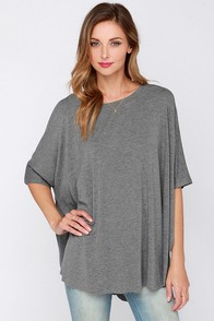 Clever Girl Oversized Grey Tee at Lulus.com!