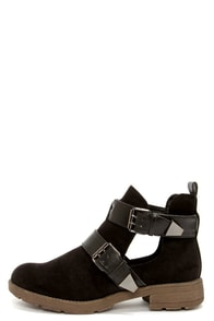 Rondie 1 Black Suede Cutout Ankle Boots at Lulus.com!