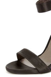 C Label Olive 1B Black Satin Ankle Strap Heels at Lulus.com!