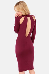 Teardrop It Like It's Hot Burgundy Midi Dress at Lulus.com!