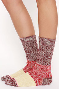 Stance Winter Camp Burgundy and Red Socks at Lulus.com!
