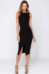 One Fit Wonder Black Bodycon Midi Dress at Lulus.com!