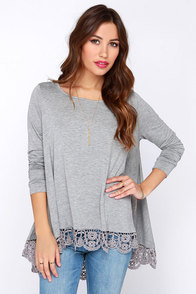 Just Like Vacation Grey Long Sleeve Top at Lulus.com!