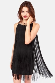 The Best of Fringe Black Dress at Lulus.com!