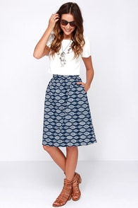 Olive & Oak Ikat You Later Navy Blue and Ivory Print Midi Skirt at Lulus.com!