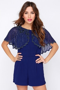TFNC Jodie Blue Beaded Romper at Lulus.com!