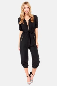 Pop, Lock, and Crop It Cropped Black Jumpsuit at Lulus.com!