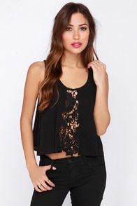 Front and Center Black Crochet Top at Lulus.com!