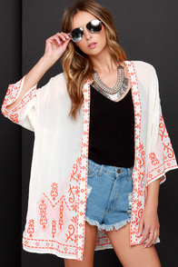 Far Away Lands Cream and Orange Embroidered Kimono Top at Lulus.com!