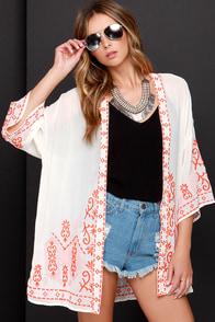 Far Away Lands Cream and Orange Embroidered Kimono Top at Lulus.com!