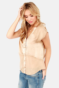 Spill the Sheens Beige Top at Lulus.com!