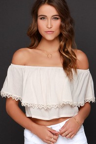 Small Talk Light Beige Off-the-Shoulder Crop Top at Lulus.com!