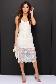 Slipped Away Beige and Ivory Lace Midi Dress at Lulus.com!