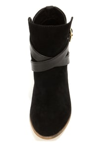 Mixx Shuz Reba Black and Gold Suede Ankle Boots at Lulus.com!