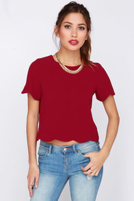 Rhythm and Flow Wine Red Top at Lulus.com!