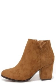 Notch Your Average Tan High Heel Ankle Boots at Lulus.com!