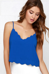 Can't Stop Me Now Scalloped Blue Crop Top at Lulus.com!