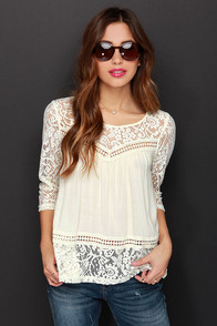 Cute Rules Everything Around Me Cream Lace Top at Lulus.com!