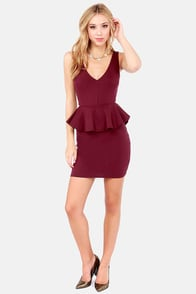Peplum Pudding Cutout Burgundy Dress at Lulus.com!