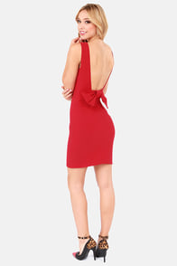 Bow Do You Do? Red Backless Dress at Lulus.com!