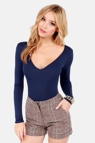 Body Talk Navy Blue Bodysuit at Lulus.com!