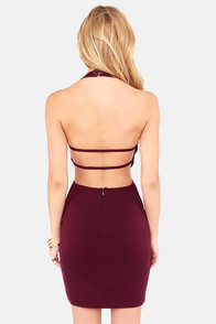 Be Right Backless Burgundy Halter Dress at Lulus.com!