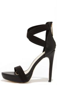 Step Right Up Black Ankle Strap Platform Heels at Lulus.com!
