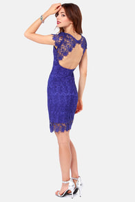Rubber Ducky Suite Life Backless Royal Blue Lace Dress at Lulus.com!