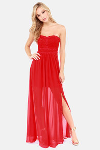 Aryn K Good Graces Strapless Red Maxi Dress at Lulus.com!