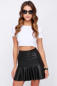 Tea and Trumpets Black Vegan Leather Skirt at Lulus.com!