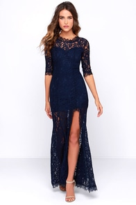image Only One Navy Blue Lace Maxi Dress