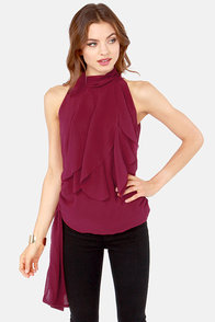 Ruffle Road Sleeveless Wine Red Top at Lulus.com!