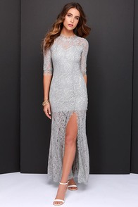 Only One Light Grey Lace Maxi Dress at Lulus.com!