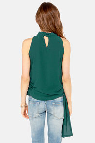 Ruffle Road Sleeveless Hunter Green Top at Lulus.com!