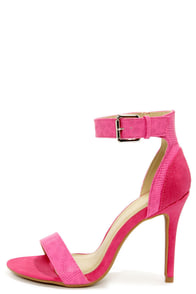 Shoe Republic LA Francois Fuchsia Snake and Suede High Heels