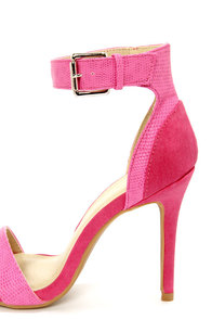 Shoe Republic LA Francois Fuchsia Snake and Suede High Heels at Lulus.com!
