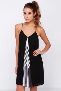 Between the Lines Black and Ivory Slip Dress at Lulus.com!