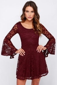 Imagine the Best Burgundy Lace Dress at Lulus.com!