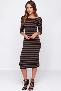 O'Neill Aries Taupe and Black Striped Midi Dress at Lulus.com!