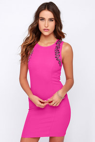 Ignite the Night Fuchsia Beaded Dress at Lulus.com!