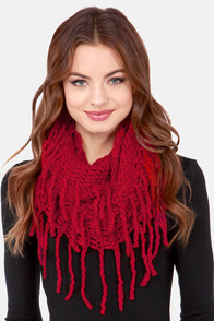 One-Knit Wonder Wine Red Infinity Scarf at Lulus.com!