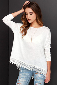 Black Swan Impulse Ivory Long Sleeve Top at Lulus.com!