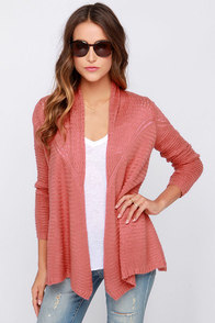 O'Neill Needles Brick Red Wrap Sweater at Lulus.com!