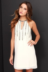 Chasing Waterfalls Beaded Cream Dress at Lulus.com!