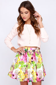 Be Bouquet Ivory Floral Print Skirt at Lulus.com!